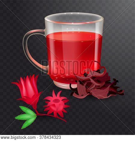 Hibiscus Tea In A Glass Mug And Roselle Bract Isolated On A Transparent Background. Dry Roselle Brac