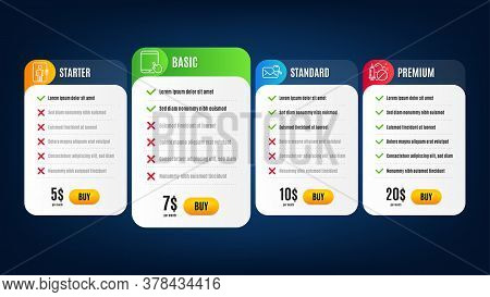 Elevator, Tablet Pc And Medical Drugs Line Icons Set. Pricing Table, Subscription Plan. Search Mail