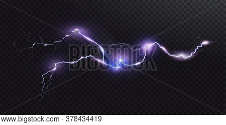 Vector Realistic Lightning. Thunderstorm And Lightning. Magic Electricity Lighting Effects. Realisti