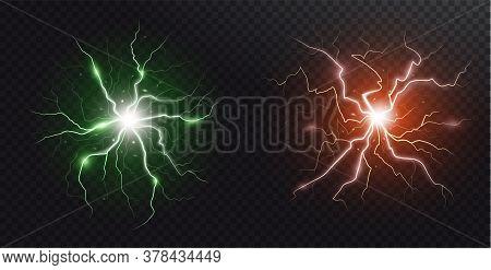 Lightning Flash And Spark. Lightning Strikes And Sparks, Electrical Energy On Dark Transparent Backg