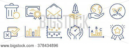 Set Of Education Icons, Such As Ranking Star, Crowdfunding. Certificate, Save Planet. Mail, Checkbox