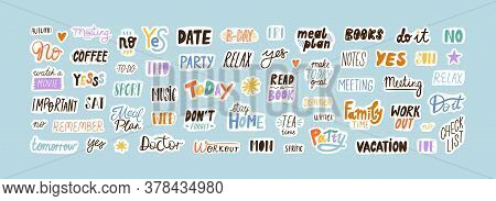 Collection Of Sticker Words Template Vector Flat Illustration. Bundle Of Decoration For Weekly Or Da