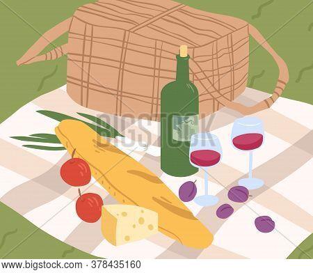 Composition For Outdoor Picnic Serving On Blanket Vector Flat Illustration. Fresh Tasty Baguette, Vi