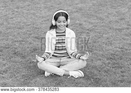 Do Not Bother Me. Cool Girl Headphones Listening Music. Educational Podcast. Listen Music While Rela