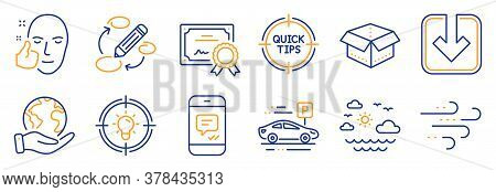 Set Of Business Icons, Such As Idea, Load Document. Certificate, Save Planet. Windy Weather, Open Bo
