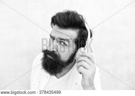 Instrumental Music. Bearded Man Headphones. Enjoy Every Note. Active Noise Cancellation Technology.