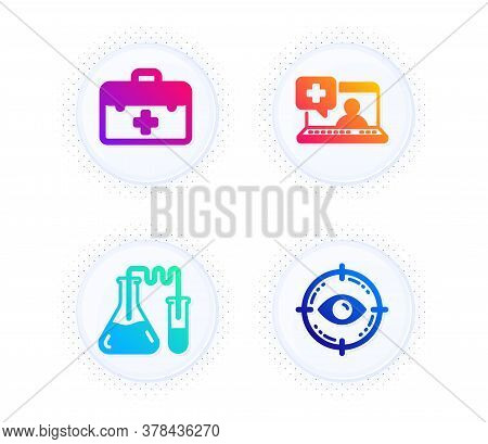 Medical Help, Chemistry Lab And First Aid Icons Simple Set. Button With Halftone Dots. Eye Target Si