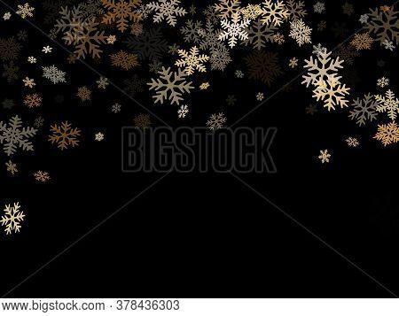 Winter Snowflakes Border Card Vector Background.  Macro Snowflakes Flying Border Design, Holiday Ban