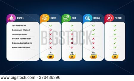 Augmented Reality, New And Leaves Icons Simple Set. Price List, Pricing Table. Refill Water Sign. Ph