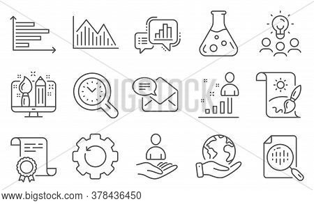 Set Of Education Icons, Such As New Mail, Graph Chart. Diploma, Ideas, Save Planet. Stats, Recruitme