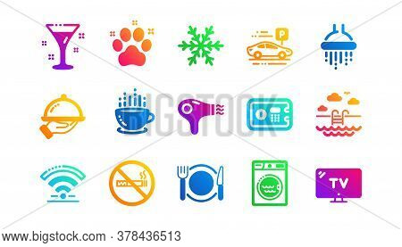 Wi-fi, Air Conditioning And Washing Machine. Hotel Service Icons. Pets, Swimming Pool And Hotel Park