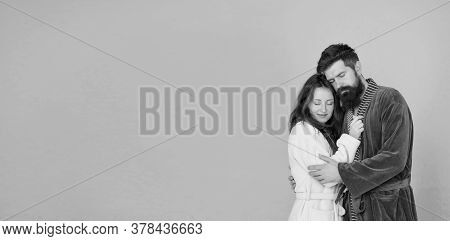 Lost In Dream. Couple In Love Have Dream Together. Bearded Man And Sensual Woman Sleep In Embrace. A