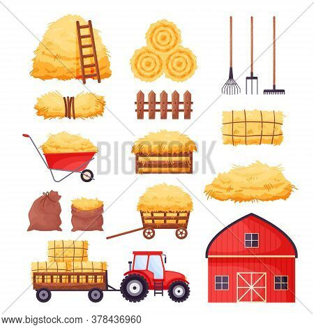 Bale Of Hay Set. Farm Barn, Tractor, Fence, Pitchfork, Rake, Wheelbarrow Isolated On White Backgroun