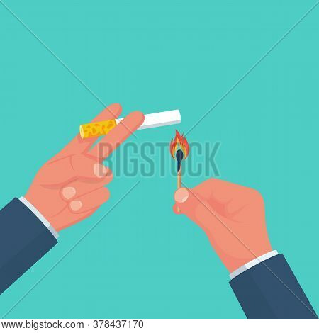 Cigarettes And Matches In A Hand. Light A Cigarette. Smoker Holds A Smoking Cigarette. Vector Illust