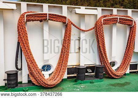 Ship Ferryboat Deck With Equipment. Tourism Vacation And Travel.