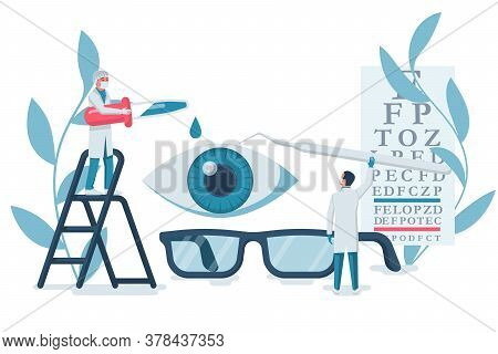 Ophthalmology Concept. Web Banner, Template For Eye Examination. A Group Of Doctors Treats And Exami
