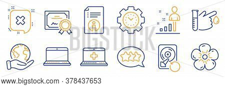 Set Of Business Icons, Such As Blood Donation, Time Management. Certificate, Save Planet. Medical He