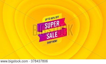 Super Sale Badge. Geometric Plastic Design Banner. Discount Banner Shape. Coupon Tag Icon. Orange Sh