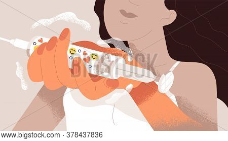 Public Approvement Concept, Internet Or Like Addiction, Social Addicted Girl. Woman Holding Syringe