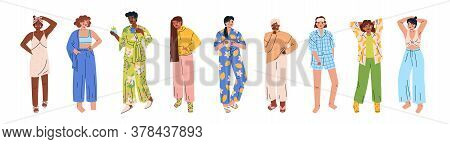 Trendy Young Women Set Wearing Cozy Home Clothes, Homewear. Multicultural Cute Girls In Various Comf