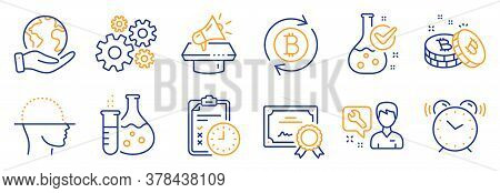 Set Of Technology Icons, Such As Megaphone, Repairman. Certificate, Save Planet. Alarm Clock, Refres