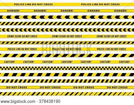 Set 1. Fencing Tapes 50 Mm Wide. Black And Yellow Stripes Vector Police Tape. Vector Illustration.