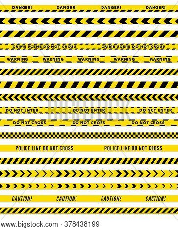 Set 1. Fencing Tapes 75 Mm Wide. Black And Yellow Stripes Vector Police Tape. Vector Illustration.