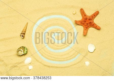 Summer, Vacation On The Beach By The Sea Background. Sea And Ocean Shells On The Sand Of The Beach I