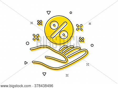 Discount Sign. Loan Percent Icon. Credit Percentage Symbol. Yellow Circles Pattern. Classic Loan Per