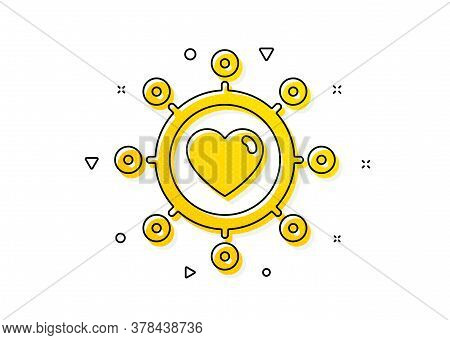 Relationships Network Sign. Love Dating Icon. Valentines Day Or Heart Symbol. Yellow Circles Pattern