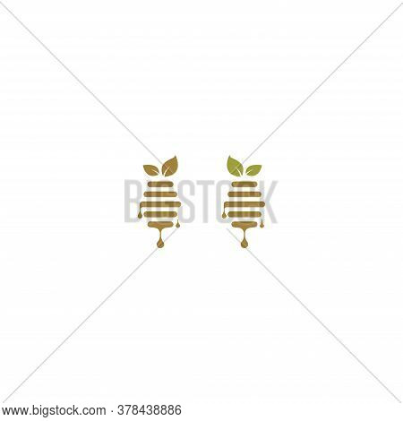 Honey Logo, Leaves, Leaf Honey Logo Icon Design Concept Illustration