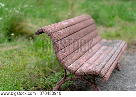 Old Wooden Bench For Rest. Dirty Shabby Pew In Park.