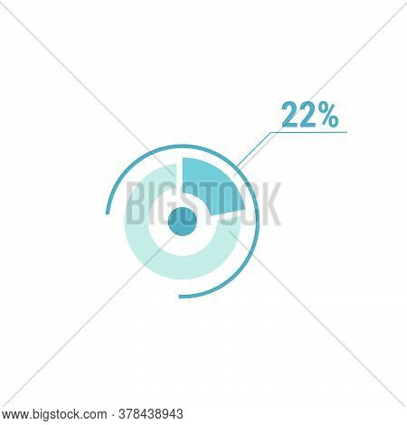 Twenty Two One Percent Chart, 22 Percentage Diagram. Vector Circle Chart Design For Web Ui Design. F