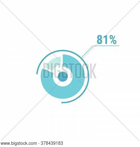 81 Eighty One Percent Vector Circle Chart, Percentage Diagram Graph For Web Ui Design, Flat Vector I