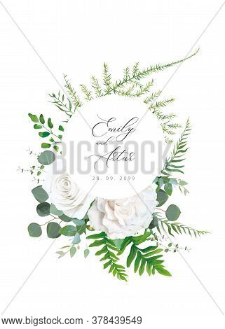 Wedding Floral Invitation, Invite, Save The Date, Greeting Card. Vector Floral Bouquet Design: White