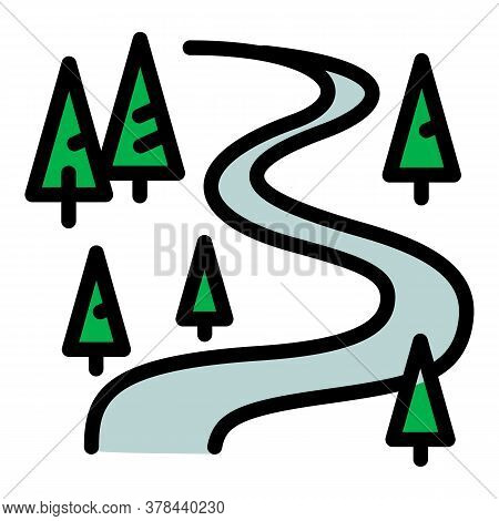 Ski Resort Forest Track Icon. Outline Ski Resort Forest Track Vector Icon For Web Design Isolated On