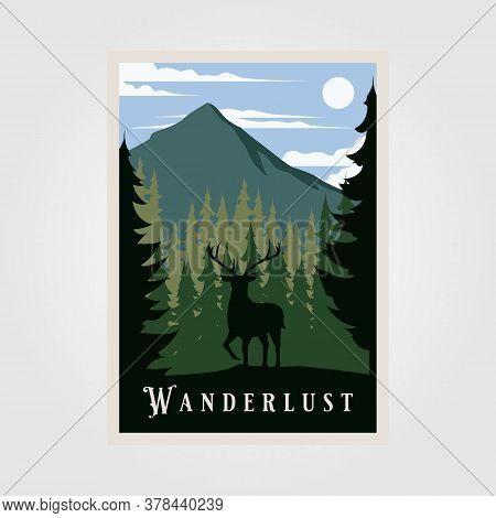 National Park Wanderlust Vintage Poster Vector Illustration Design, Wild Deer Background