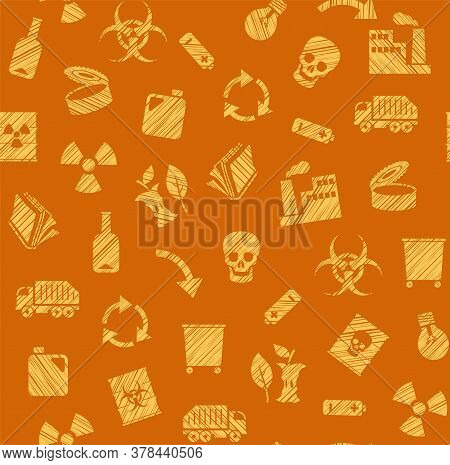 Waste Collection And Disposal, Seamless Pattern, Pencil Hatching, Orange, Color, Vector. Garbage Col