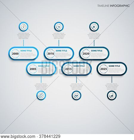 Time Line Info Graphic Oval Pointers In Blue Design Template Vector Eps 10