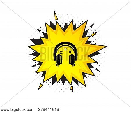 Headphones Icon. Quote Speech Bubble. Music Listen Sign. Musical Earphones Symbol. Quotation Marks.