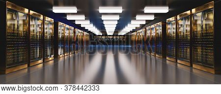 Servers. Server Data Center. Backup, Hosting, Mainframe, Farm And Computer Rack With Storage Informa