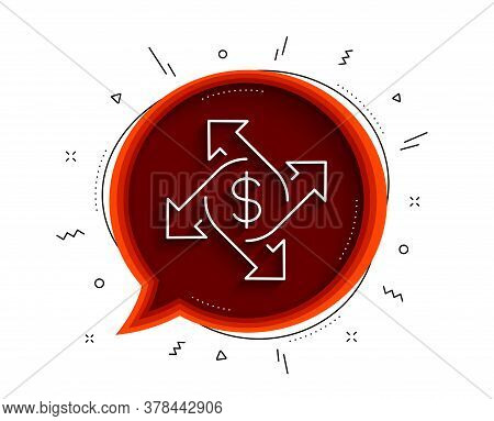 Payment Exchange Line Icon. Chat Bubble With Shadow. Dollar Sign. Finance Transfer Symbol. Thin Line