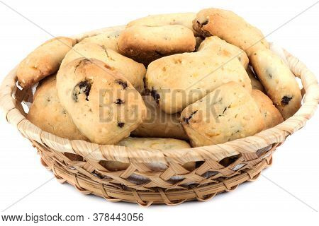 Basket With Freshly Baked Homemade Cookies With Raisins Isolated On A White Background. Homemade Sho
