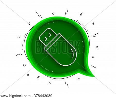 Usb Stick Line Icon. Chat Bubble With Shadow. Computer Memory Component Sign. Data Storage Symbol. T