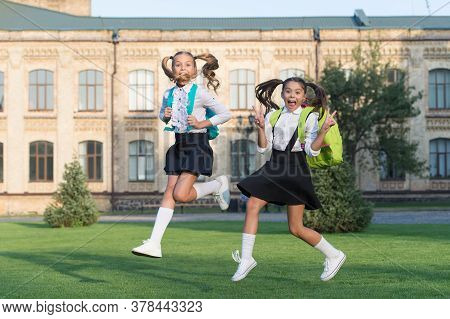 Excited School Kids Formal Uniform Running, Hurry Up Concept.