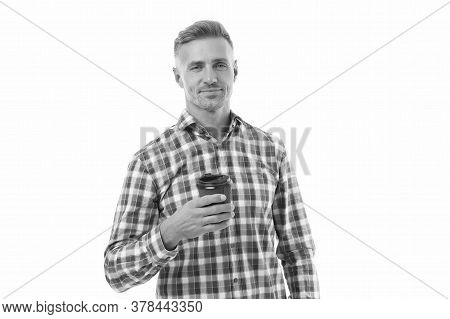 Lets Go For Coffee. Happy Man Hold Takeaway Coffee Isolated On White. Handsome Guy Enjoy Drinking Co