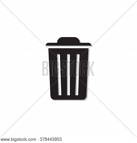 Black Trash Can Icon Isolated On White Background.