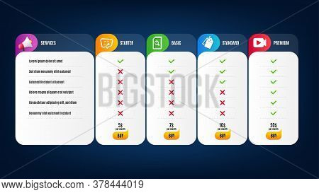 Yummy Smile, Sale Tags And Search Files Icons Simple Set. Price List, Pricing Table. Video Camera Si