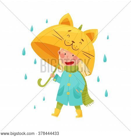 Smiling Girl Character In Rubber Boots And Raincoat Walking With Umbrella Vector Illustration