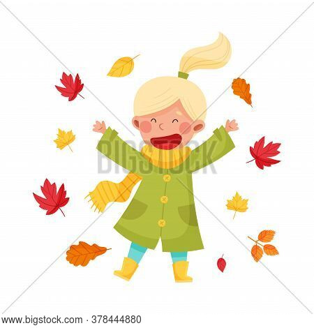 Funny Girl Character In Rubber Boots And Raincoat Throwing Autumn Leaves Vector Illustration